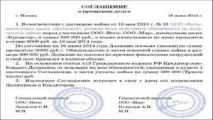 Соглашение о погашении долга между физическими лицами образец
