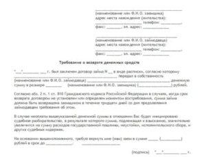 Претензионное письмо о возврате денежных средств по расписке образец