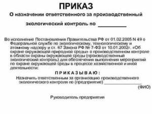 Образец приказа о назначении ответственных лиц за производственный контроль