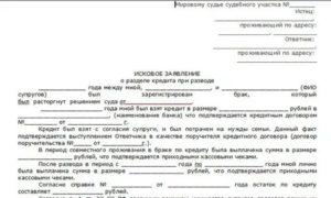 Исковое заявление в суд на раздел кредитов