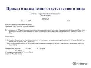 Приказ о назначении лица подписывающего акты скрытых работ от заказчика