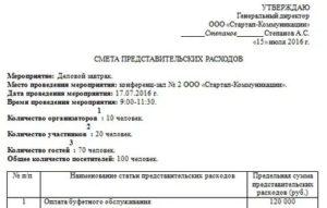 Отчет о произведенных представительских расходах