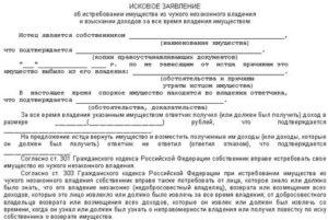 Виндикационный иск в арбитражном процессе образец