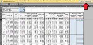 Таблица эксель расчет по кредитам за год