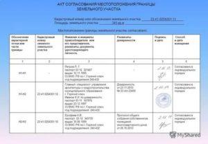 Акт согласования границ земельного участка образец заполнения