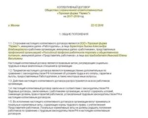 Образец коллективного договора для муп на 2020 год